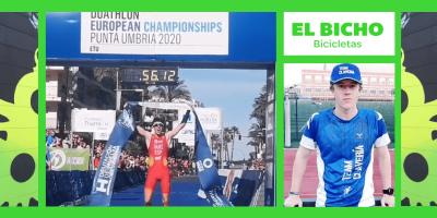 El tri del TeamClavería Nacho Gálvez, Campeón de Europa de Duatlón Junior en Punta Umbría